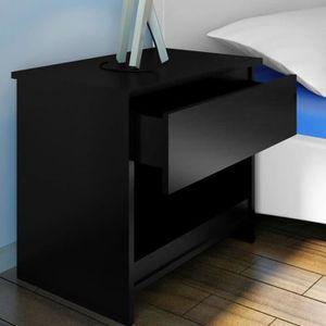 CHEVET Table De Chevet Table De Nuit Noir Avec Tiroir MDF