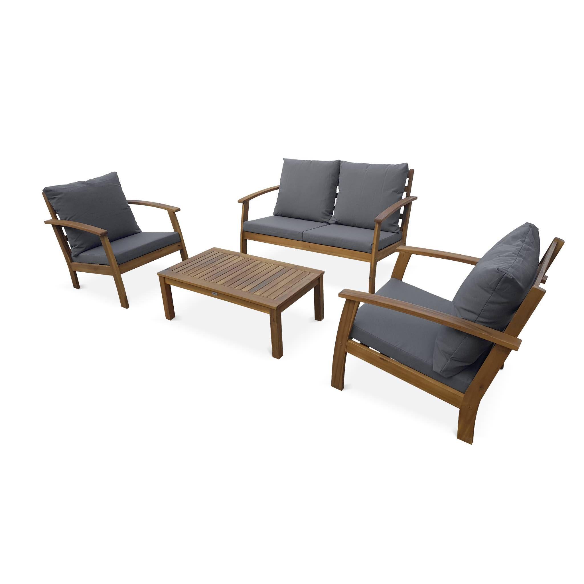 Salon de jardin en bois 4 places - Ushuaïa - Coussins Gris, canapé, fauteuils et table basse en acacia, design