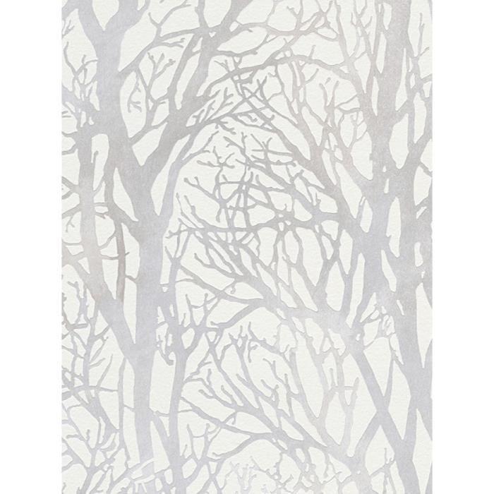 Arbre Branches papier peint blanc et argent - CRÉATION 30094-1