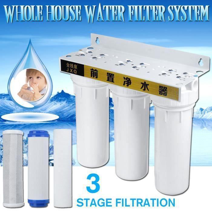3-4 pouce Station de Filtration d'eau 3 Etapes Anti Impureté Filtre Purificateur Robinet Cuisine SCB58