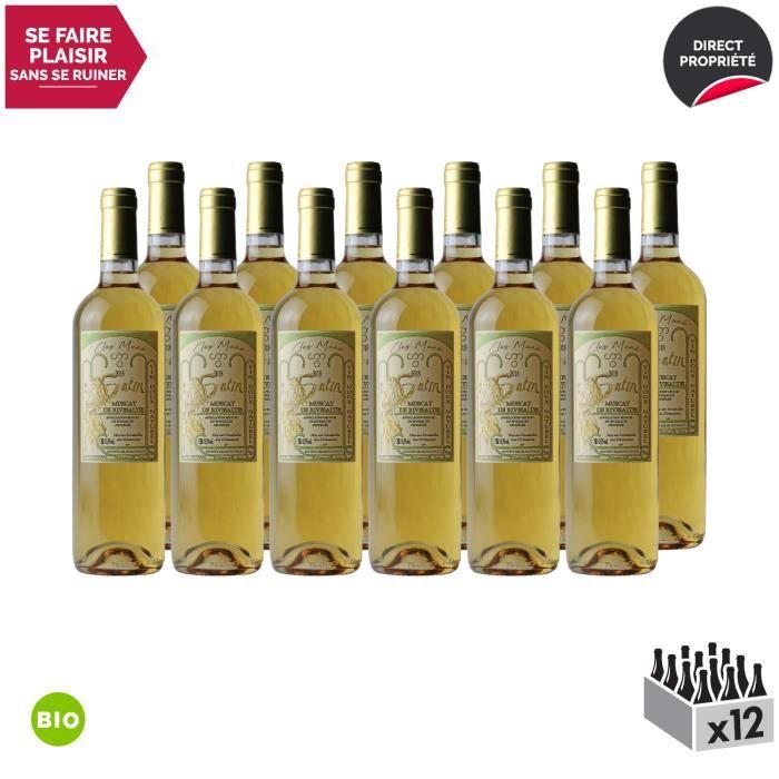 Muscat de Rivesaltes Satin Blanc 2018 - Bio - Lot de 12x75cl - Domaine Clos Mané - Vin Doux AOC Blanc du Languedoc - Roussillon -