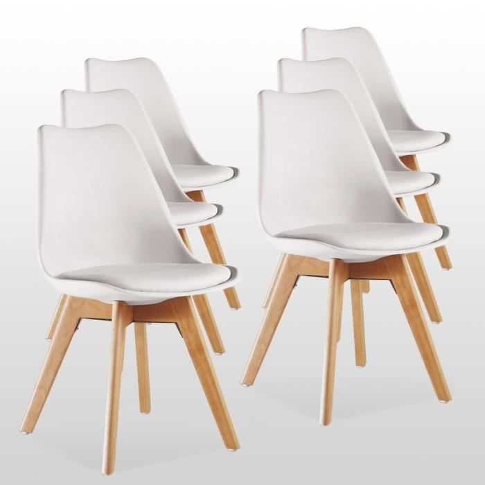 Lot de 6 Chaises Lorenzo Style Scandinave Blanches