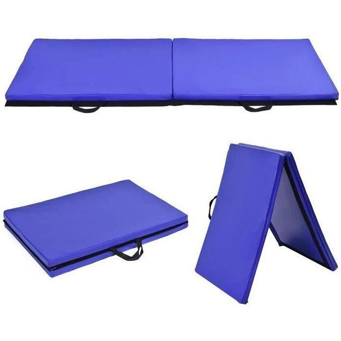 Tapis de Gymnastique Pliable 180 x 60 x 3,8 cm Matelas de Fitness Portable Natte de Gym pour Fitness, Yoga, Sport et Exercice Bleu