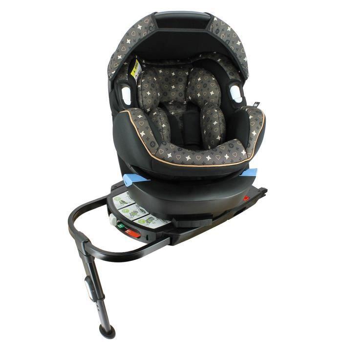 Siège auto confort groupe 0+ (0-13kg) Isofix - Protections latérales - Cale-tête et réducteur de profondeur - Fizzy Brown