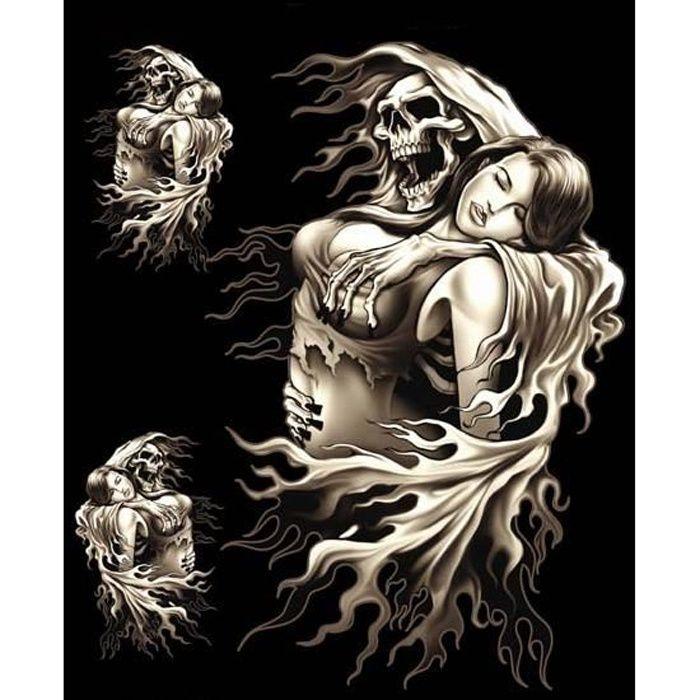 3 Stickers Skull Tête de Mort Faucheuse Lady Rider