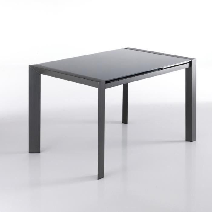 Table extensible 120/180 cm plateau verre gris et piétement acier - MYSTIC