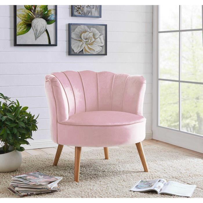 Fauteuil en tissu velours rose design CAMILLE