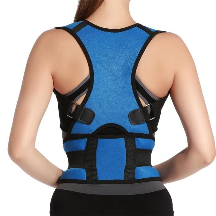 CEINTURE LOMBAIRE,Chaude hommes femmes adulte dos soutien bretelles réglable dos thérapie épaule magnétique Posture - Type Bleu-S