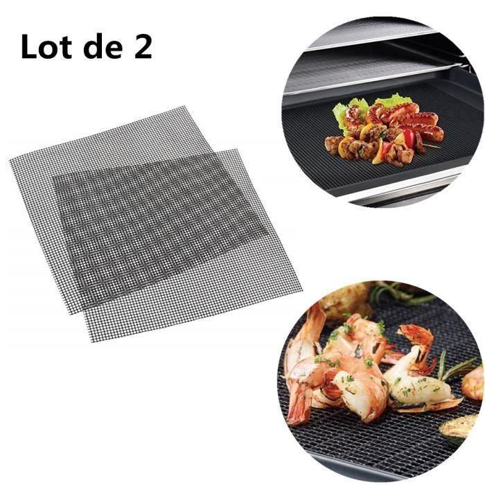 2 Pcs Grille pour barbecue en maille Tapis de tapis de barbecue grill anti-adhésif pour cuisson barbecue cuisson 36 x 42 cm