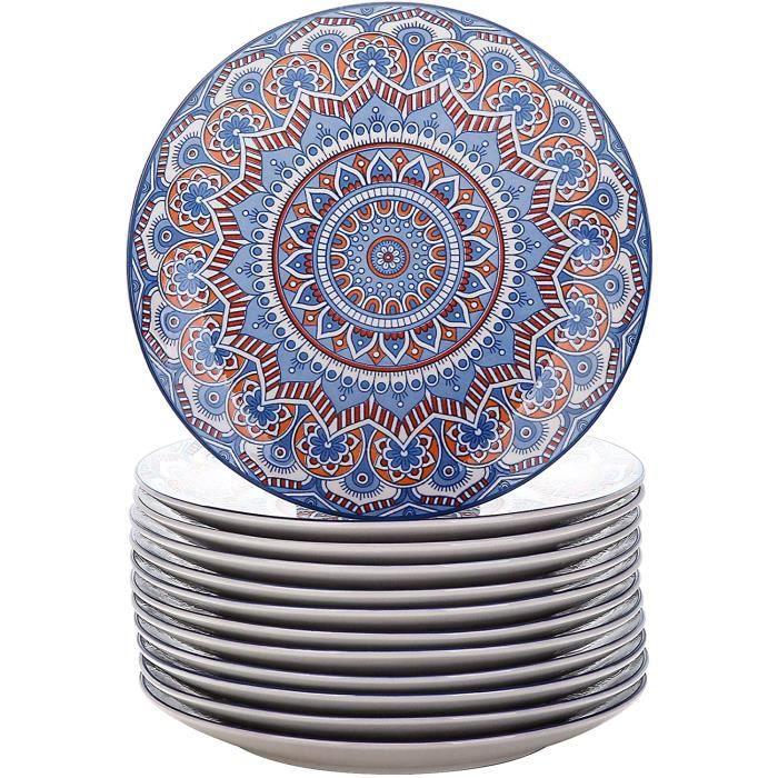 vancasso, Série Mandala, Grande Assiette en Porcelaine 12 pièces, Assiette Plate à Dîner, 27cm - Style Royal Bohémien