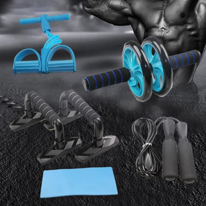 5pcs appareils de fitness musculation, Roue AB+push-up stand+Corde à Sauter+ Main pince+ Tapis pour Genou,bleu