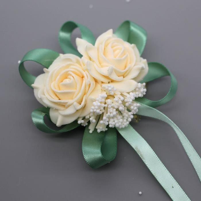 Décoration florale,Décoration de mariage rose de poignet de mariage,fleur de main en dentelle de soie PE - Type champagne green