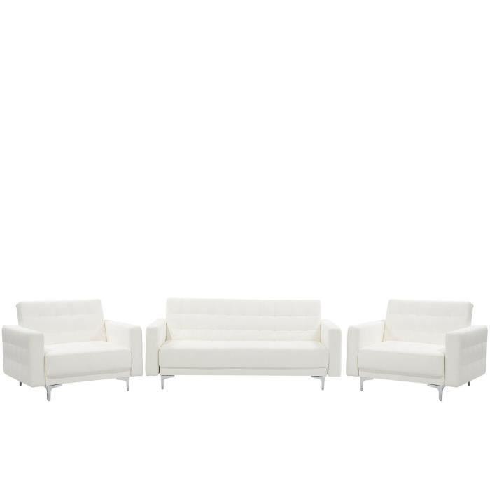 Beliani - Set de salon en simili-cuir blanc ABERDEEN