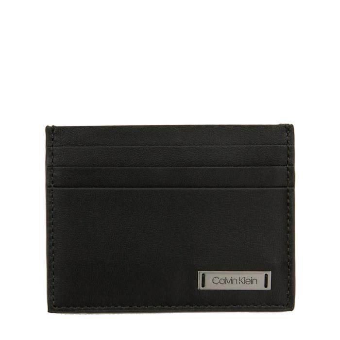 Porte-cartes en cuir avec plaque Calvin Klein K50K504304 - Noir