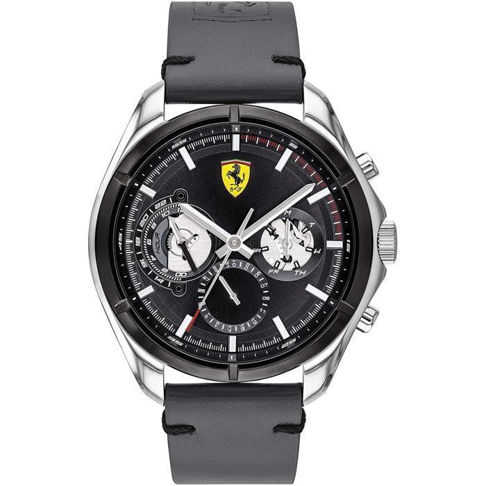 Ferrari-Montre Multi-Cadrans pour Hommes à movement Quartz en Cuir - 0830753