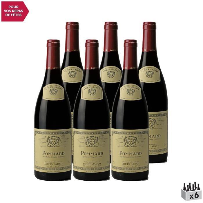 Pommard Rouge 2016 - Lot de 6x75cl - Louis Jadot - Vin AOC Rouge de Bourgogne - Cépage Pinot Noir
