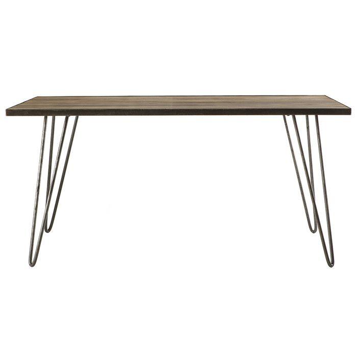 Miliboo - Table à manger industrielle rectangle bois métal ATELIER