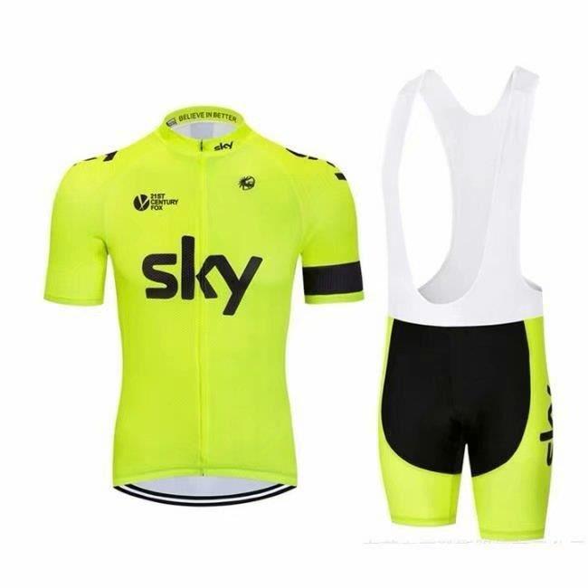 Maillot de Cyclisme Manches Courte Team Sky Été JauneFluo + Cuissard à Bretelle Homme Vélo GEL Ensenble de Vêtement Equipe de France