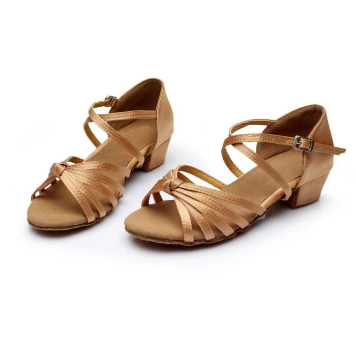 Mode féminine danse Rumba valse bal salle de bal chaussures de danse latine sandales -Kaki