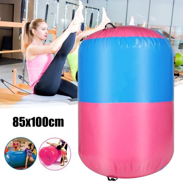 NEUFU Cylindre portatif gonflable de piste de baril d'air de gymnastique de rouleau d'air gonflable de remise en forme100x85cm