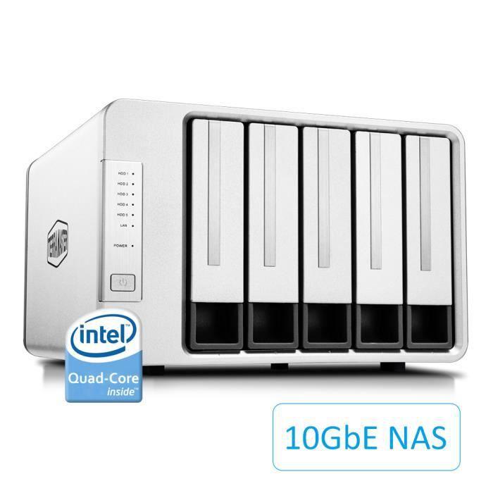TerraMaster F5-422 10GbE Serveur de Stockage en Nuage NAS Intel Quad-Core 1.5Hz Stockage réseau Plex Media Server (sans Disque)