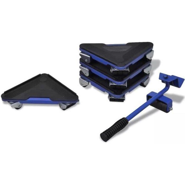Kit de déplacement de meuble 1 levier et 4 coins roulants 23 x 17 x 17 cm
