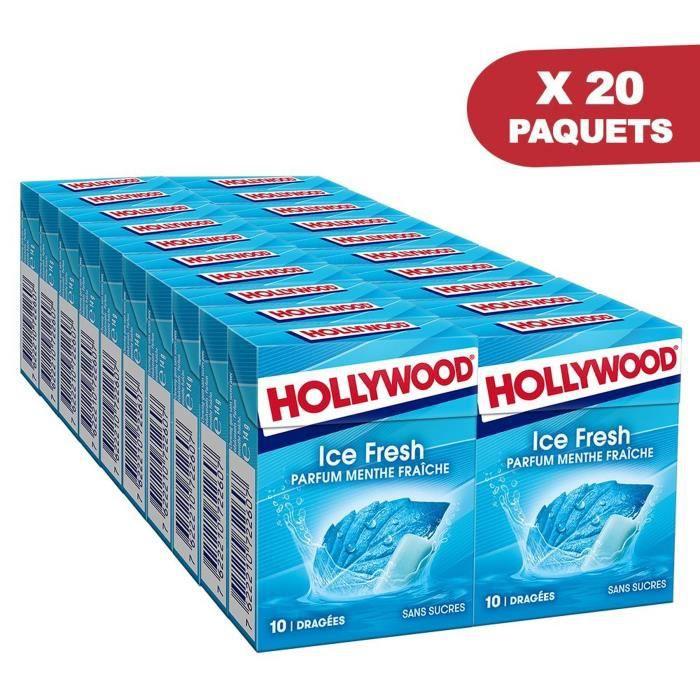 HOLLYWOOD Chewing Gum Ice Fresh - Parfum Menthe Fraîche – Sans Sucre avec édulcorants - Lot de 20 paquets de 10 dragées x 14 g