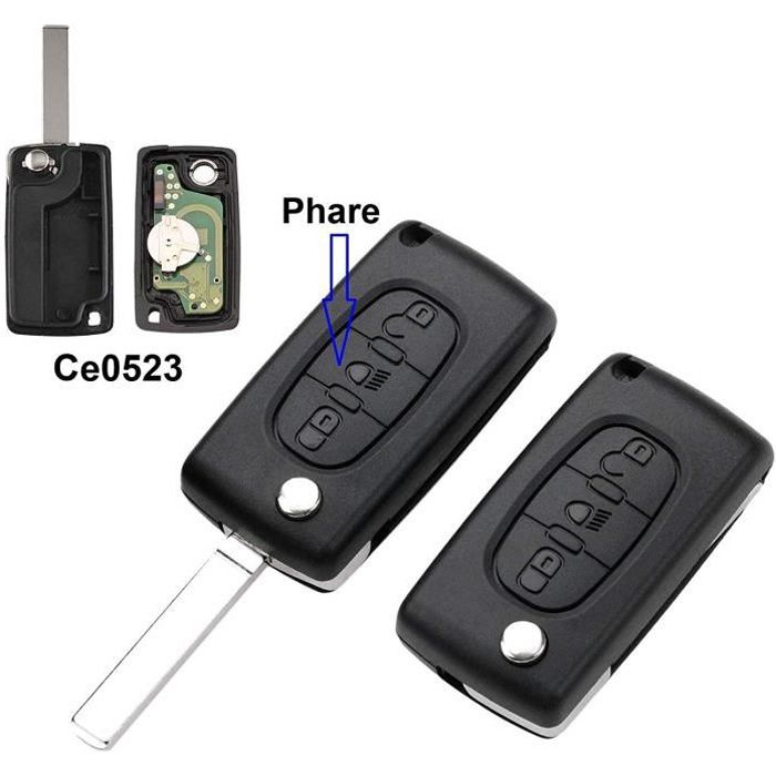 Clé complète avec électronique à Programmer PLIP Citroen C1 C2 C3 C4 C5 C6 C8 Xsara Picasso Peugeot 207 208 307 308 407 807 2795