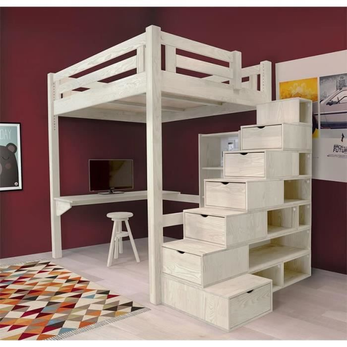 lit mezzanine alpage bois escalier cube hauteur r glable teint blanc 160x200 achat. Black Bedroom Furniture Sets. Home Design Ideas