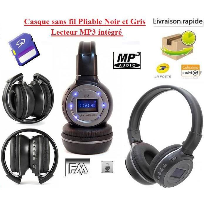 casque sans fil mp3 int gr fonction 4 en 1 gris lecteur. Black Bedroom Furniture Sets. Home Design Ideas