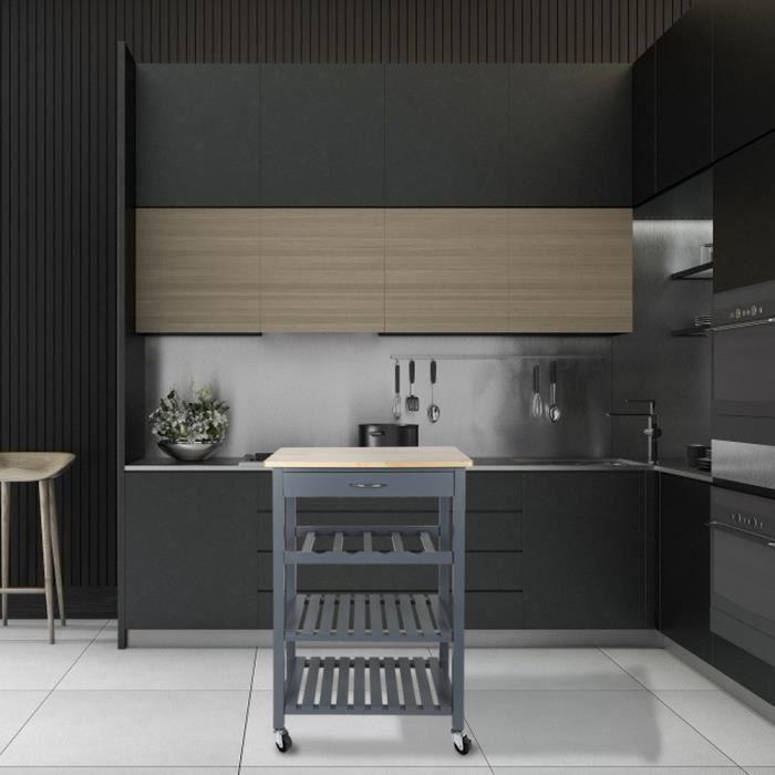 DESSERTE - BILLOT 3 étages Meuble cuisine en pin massif Desserte cha