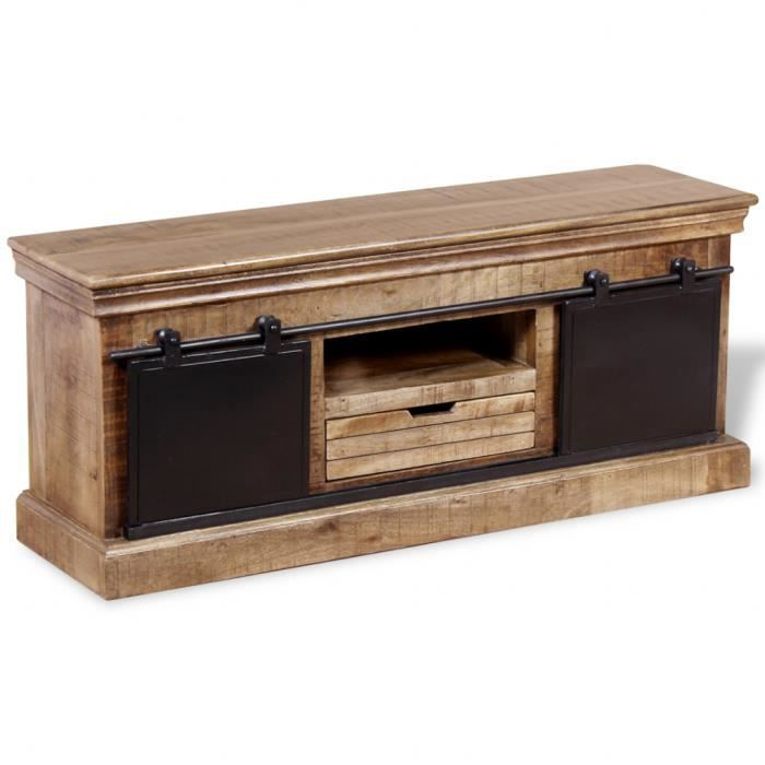 vidaxl meuble tv avec 2 portes coulissantes bois de manguier massif achat vente meuble tv. Black Bedroom Furniture Sets. Home Design Ideas