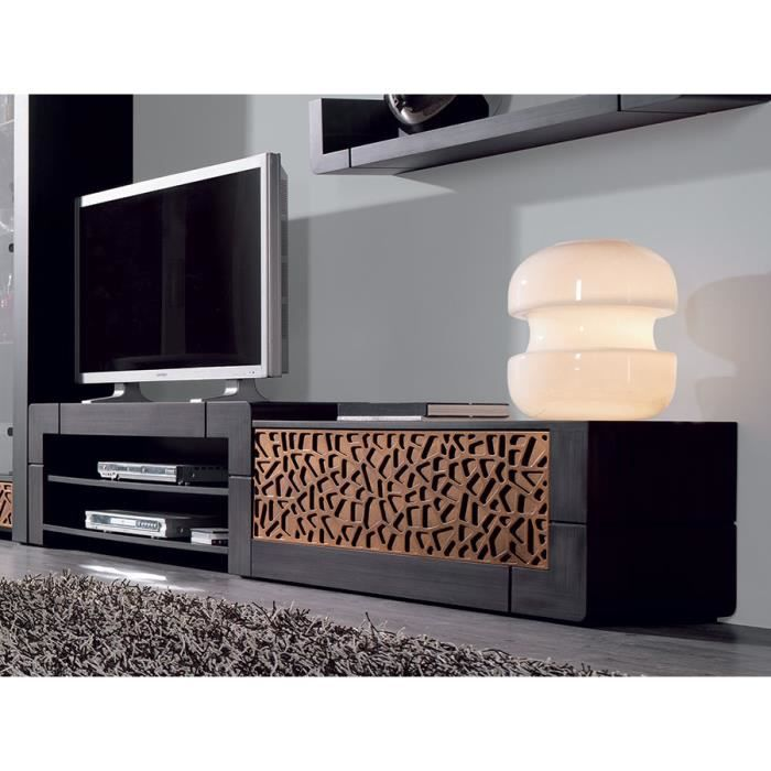 meuble tv patin gris plomb et reliefs contemporain filia cuivre option rangement lat ral. Black Bedroom Furniture Sets. Home Design Ideas