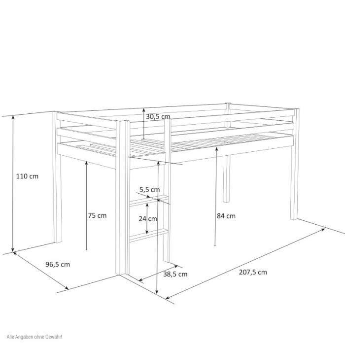 LIT MEZZANINE Lit mezzanine 90x200cm avec échelle en bois blanc