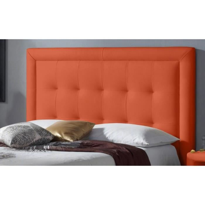 t te de lit pu square couleur orange mesure lit de 120 cm de large achat vente t te. Black Bedroom Furniture Sets. Home Design Ideas