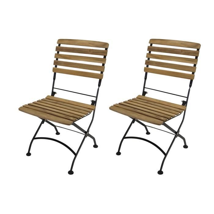 lot de 2 chaises pliante fauteuil accoudoirs salon de jardin acier plat noir et bois teak. Black Bedroom Furniture Sets. Home Design Ideas