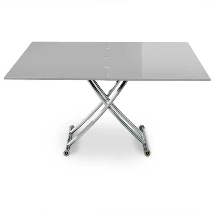TABLE BASSE Table basse relevable Carrera XL Gris clair laqué