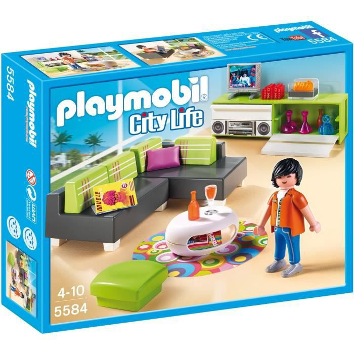 PLAYMOBIL 5584 Salon Moderne - Achat / Vente univers miniature ...