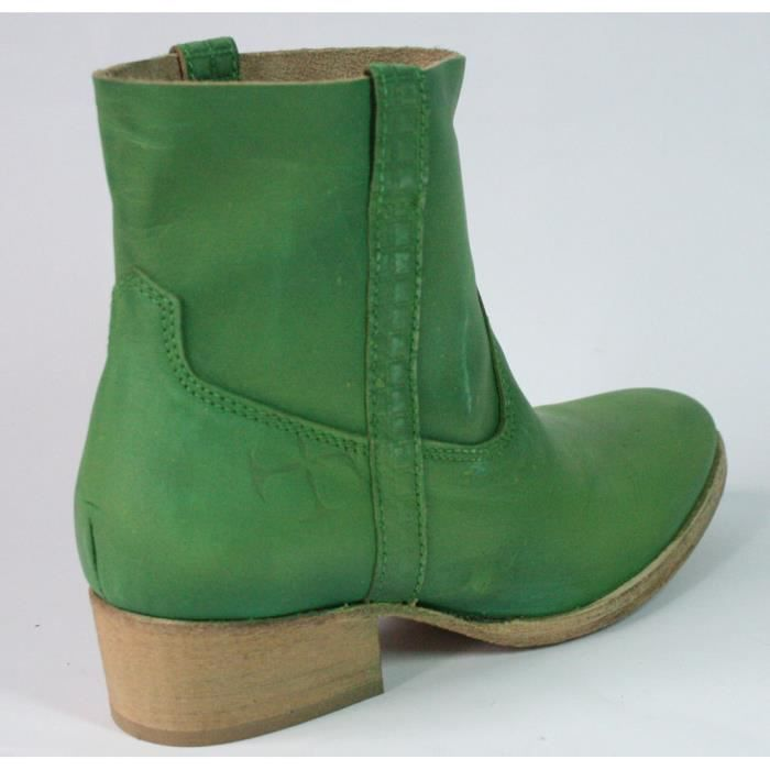 BASSE T BOTTINES VERT CHAUSSURES FEMME 40 CUIR 6wAqxp8a
