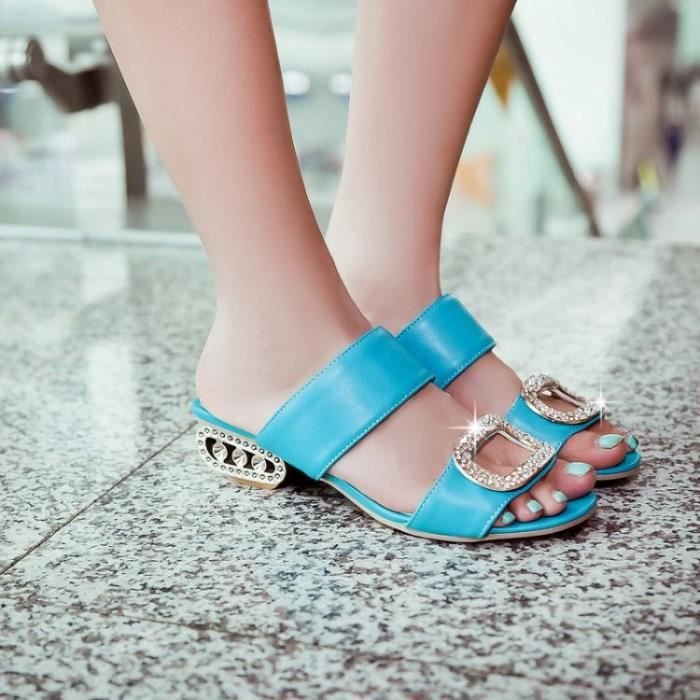 Sandals Women Summer Low Heels Plus Size 34-43 Fashion Rhinestone pAoQlu