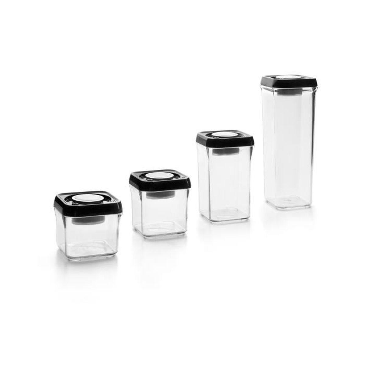 Boite Rangement Hermétique Cave boite alimentaire 100% vide-parfait empilable carree - plastique + inox  18/10. systeme de pompe a vide integre au couvercle - con