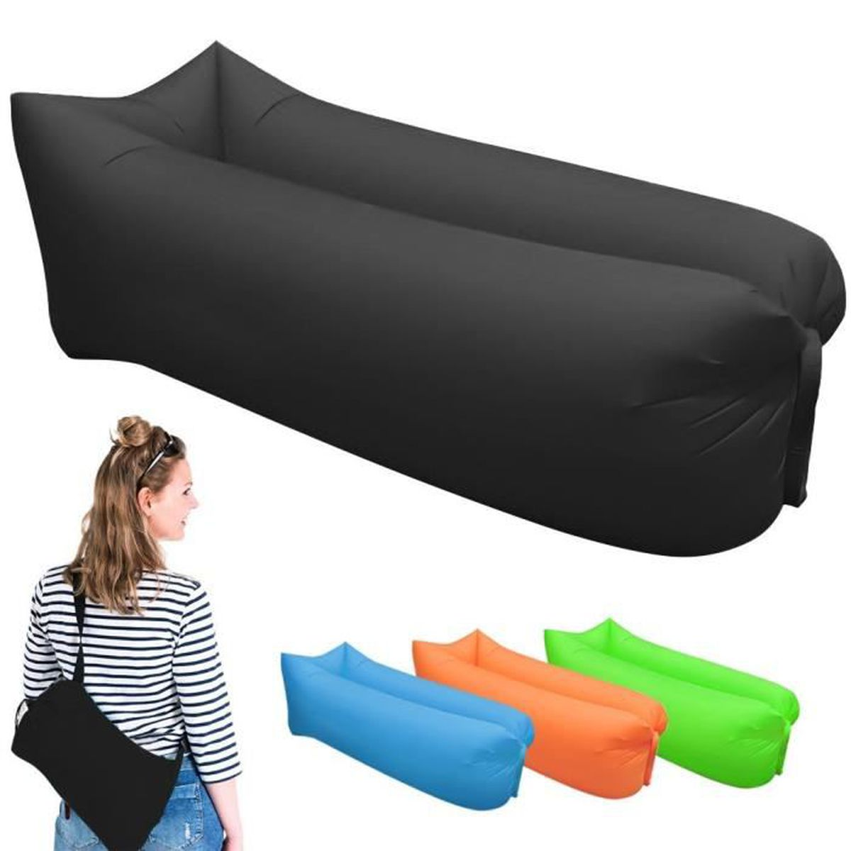 noir rapide gonflable canap air sommeil camping sofa. Black Bedroom Furniture Sets. Home Design Ideas