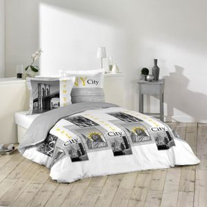 housse couette new york achat vente housse couette new york pas cher cdiscount. Black Bedroom Furniture Sets. Home Design Ideas