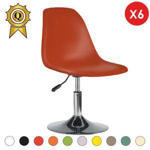 CHAISE 6 x Chaise reglable Pivotante Chrome Orange Vintag