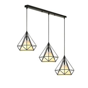 LUSTRE ET SUSPENSION Lustre Suspension Cage Forme Diamant Ajustable-Lum