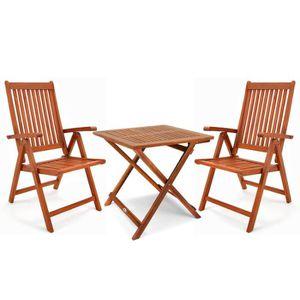 SALON DE JARDIN  Salon de jardin bois dur 2 chaises 1 table pliable