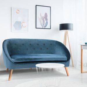 CANAPÉ - SOFA - DIVAN Canapé en velours Sonia bleu