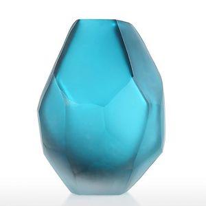 VASE - SOLIFLORE Vase en verre bleu Vase à fleur en verre élégant V