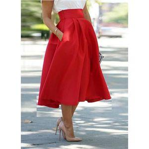 JUPE Les femmes jupe haute à taille décontractée plissé