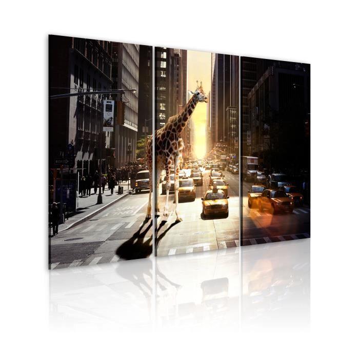 Tableau - Girafe dans la grande ville - 60x40 - Villes - New York
